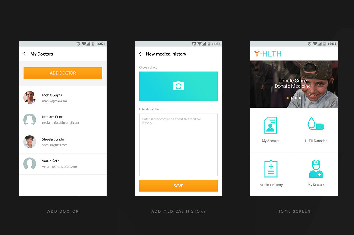 Yhlth mobile web screens designs