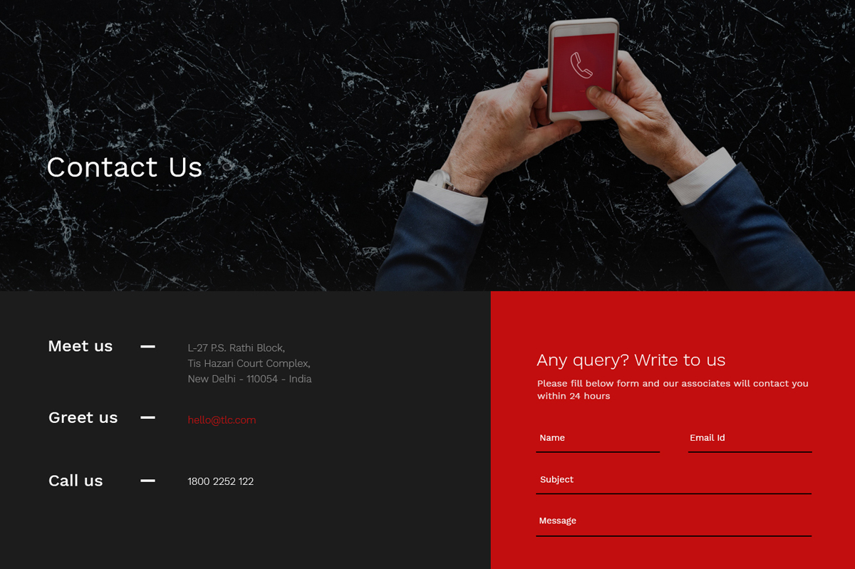 legal contact page web designs concept