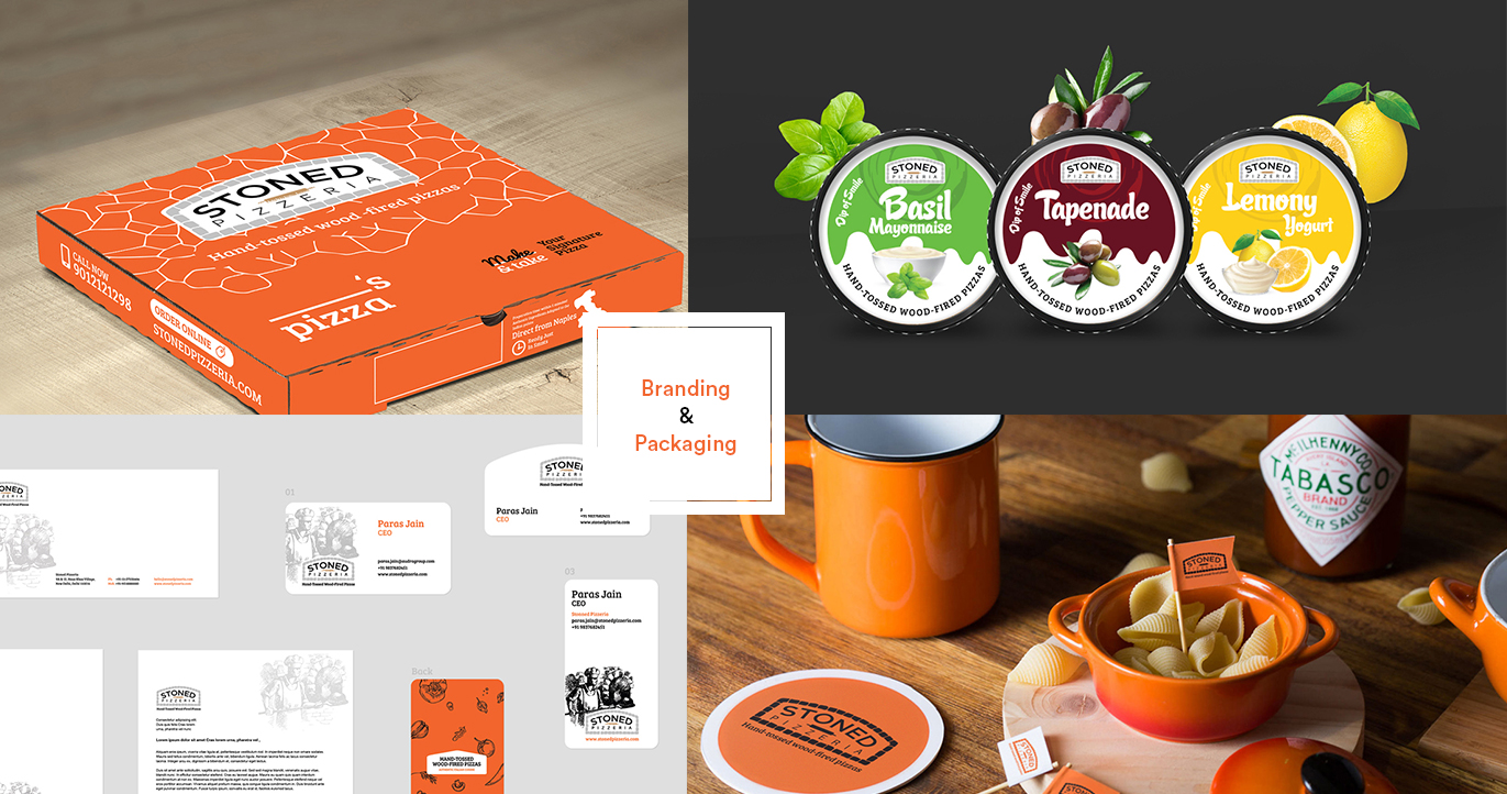 stoned pizza branding and packaging designs