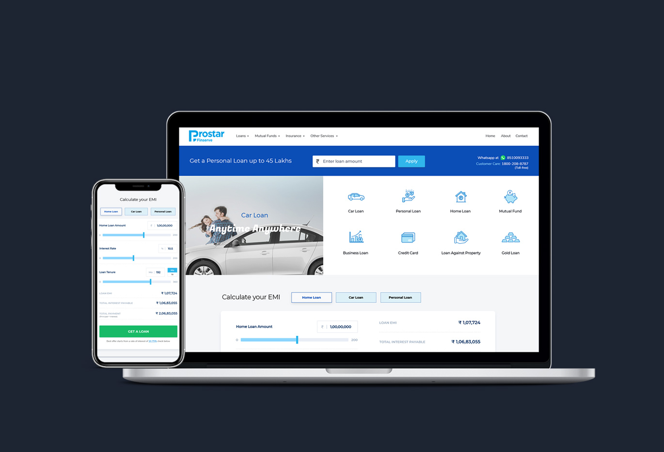 prostar home page and responsive designs