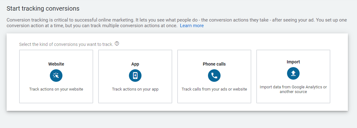 Configure conversion tracking
